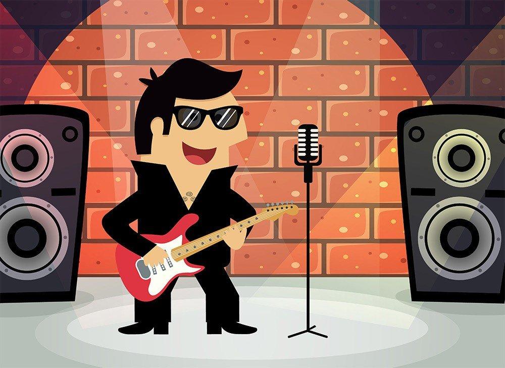 Happy Guitarists Cartoon